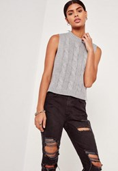 Missguided Grey High Neck Cable Sweater Tank Top