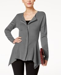Alfani Zip Front Handkerchief Hem Cardigan Created For Macy's Stadium Grey