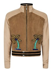 Topman Design Brown Palms Faux Suede Jacket