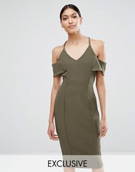 Vesper Cami Pencil Dress With Cold Shoulder Detail Khaki Green