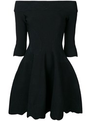 Alexander Mcqueen Off The Shoulders Flared Dress Black