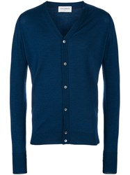 John Smedley Classic Fitted Cardigan Blue