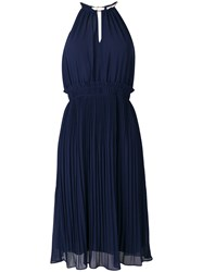 Michael Michael Kors Pleated Flared Dress Blue