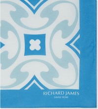Richard James Deco Tile Cotton Pocket Square Blue