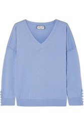 Paul And Joe Silk Cotton Blend Sweater Blue