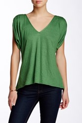 Weston Wear Abbey Lyn Linen Blend V Neck Tee Green