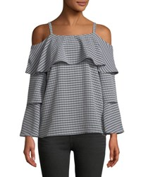 P. Luca Gingham Tiered Sleeve Blouse Black White