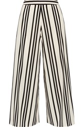 Alice Olivia Sherice Striped Georgette Wide Leg Pants Ecru