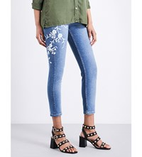 The Kooples Jimmy Embroidered Skinny Mid Rise Cropped Jeans Blu01