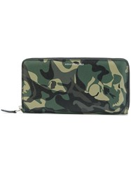 Alexander Mcqueen Camouflage Zipped Continental Wallet Men Leather One Size Green