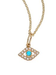 Sydney Evan Diamond And Turquoise Evil Eye Necklace Blue Gold
