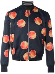 Paul Smith Peach Print Bomber Jacket Blue