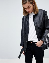 Moss Copenhagen Premium Leather Jacket With Pocket And Belt Detail Black