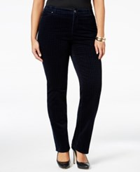 Charter Club Plus Size Houndstooth Tummy Control Corduroy Pants Only At Macy's Deepest Navy Combo