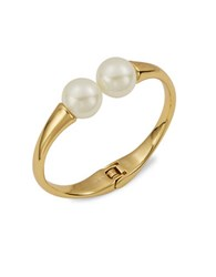 Trina Turk Faux Pearl Accented Hinged Cuff Bracelet White