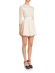 Alexander Mcqueen Lace Peplum Dress Ivory