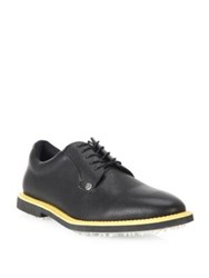 G Fore Gallivanter Striped Water Resistant Leather Shoes Azure Charcoal