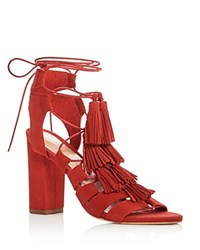 Loeffler Randall Luz Suede Ankle Tie Tassel High Heel Sandals Flame Red