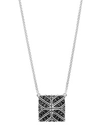 John Hardy Sterling Silver Modern Chain Black Sapphire Square Pendant Necklace 16 Black Silver