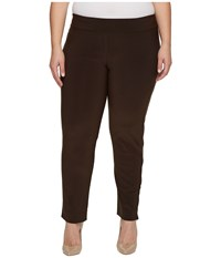 Krazy Larry Plus Size Microfiber Long Skinny Dress Pants Brown Women's Dress Pants