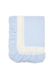 Luisa Beccaria Lace Insert Gingham Cotton Poplin Tablecloth Blue
