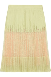 Givenchy Pleated Skirt In Mint Green Silk Twill And Lace