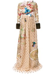 Gucci Embroidered Polka Dot Tulle Gown Silk Mink Fur Polyamide Acetate Nude Neutrals
