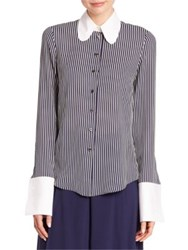 Michael Kors Contrast Collar Striped Silk Shirt Maritime White