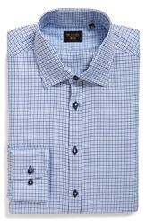Men's Sand Trim Fit Check Dress Shirt
