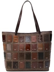Carmina Campus Patchwork Tote Bag Brown