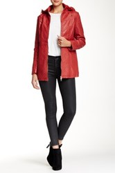 Coalition La Nighttime Rendezvous Faux Fur Lined Vegan Leather Jacket Red