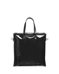 Balenciaga Bazar Small Patent Leather Shopper Tote Black