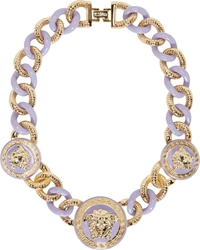 Versace Gold And Lavender Medusa Medallion Necklace