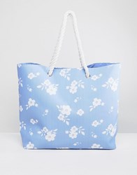 South Beach Blue Bag With White Flower Print Multi