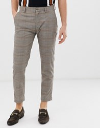 Pull And Bear Pullandbear Slim Tailored Trousers In Brown Check