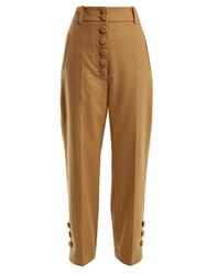 Joseph Young Buttoned Wool And Cashmere Blend Trousers Camel