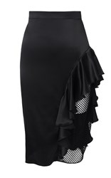 Kalmanovich Ruffled Skirt With Mesh Panel Black