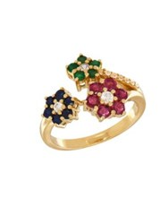 Lord And Taylor Ruby Emerald Blue Sapphire White Sapphire 14K Yellow Gold Ring Multi