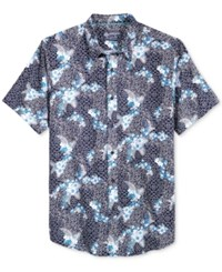 American Rag Men's Cotton Floral Geo Print Shirt Only At Macy's Basic Navy