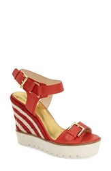 Women's Nine West 'April Shower' Espadrille Platform Wedge Sandal Red Leather