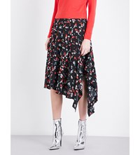 Moandco. Floral Print Silk Skirt White Pattern