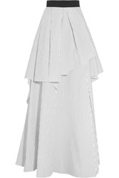 Brunello Cucinelli Layered Pinstriped Cotton Poplin Maxi Skirt White