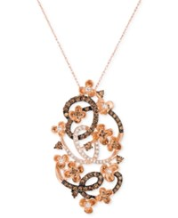 Le Vian Chocolatier Crazy Collection Diamond Fancy Scroll Floral Pendant Necklace 1 1 5 Ct. T.W. In 14K Rose Gold
