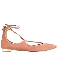 Aquazzura Christy Pointed Toe Ballerinas Pink And Purple