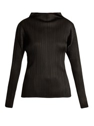 Issey Miyake Pleated High Neck Long Sleeved Top Black