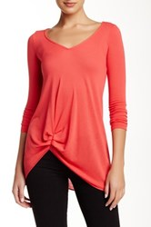 Zoa Asymmetric Ruched V Neck Sweater Orange