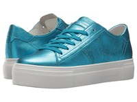 Kennel Schmenger And Big Star Perforated Sneaker Pool Metallic Calf Shoes Blue