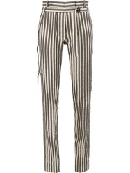 Ann Demeulemeester Striped Tailored Trousers White
