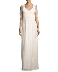 Donna Morgan Dotted Mesh Cold Shoulder Gown Off White