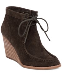 Lucky Brand Women's Ysabel Lace Up Wedge Booties Women's Shoes Dark Moss